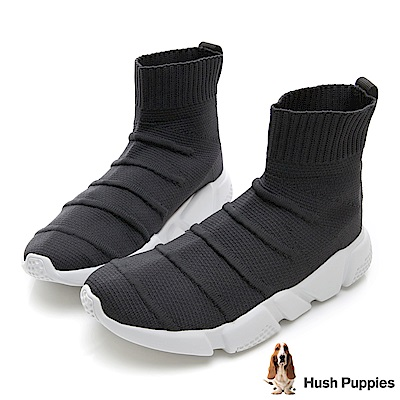 Hush Puppies Besra 中筒襪套式針織休閒鞋(女)-灰