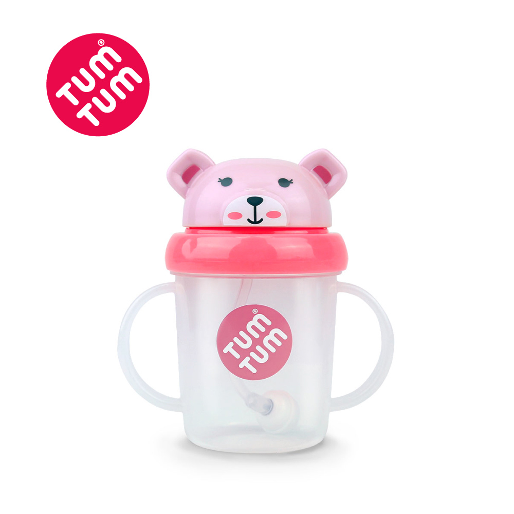 TUM TUM 小熊貝琪-頭蓋型防漏學習水杯(粉)200ml
