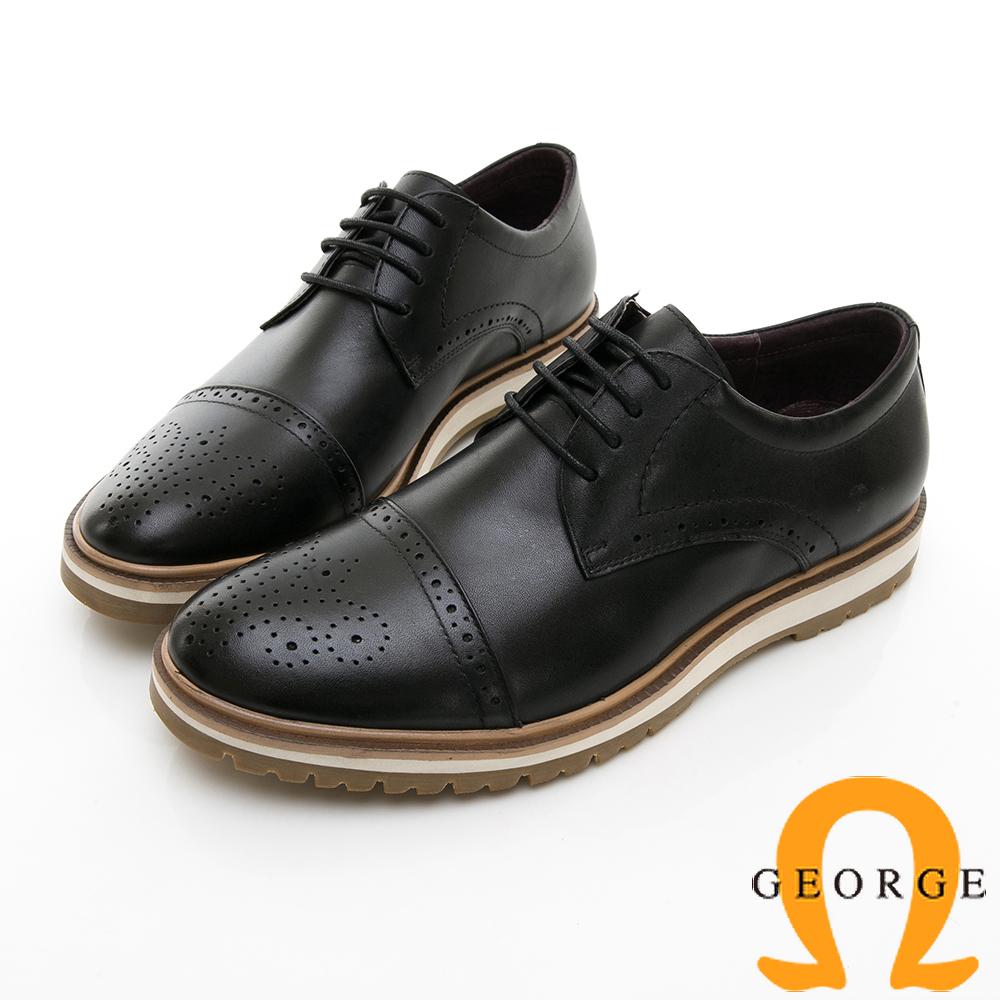 【GEORGE 喬治皮鞋】休閒系列 綁帶雕花紳士休閒皮鞋-黑色