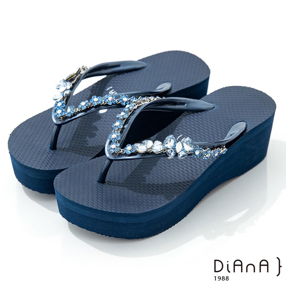 DIANA 6cm 進口波莉水鑽x高密度橡膠夾腳海攤拖鞋-豔夏時尚-深藍