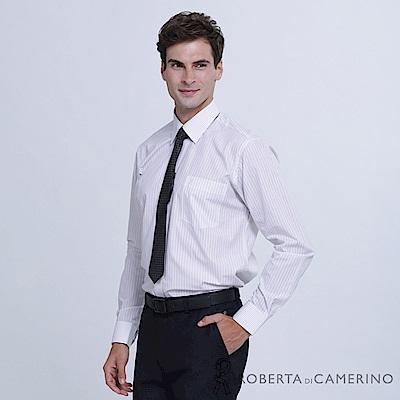 ROBERTA諾貝達 台灣製 商務休閒 雙色條紋長袖襯衫  粉灰