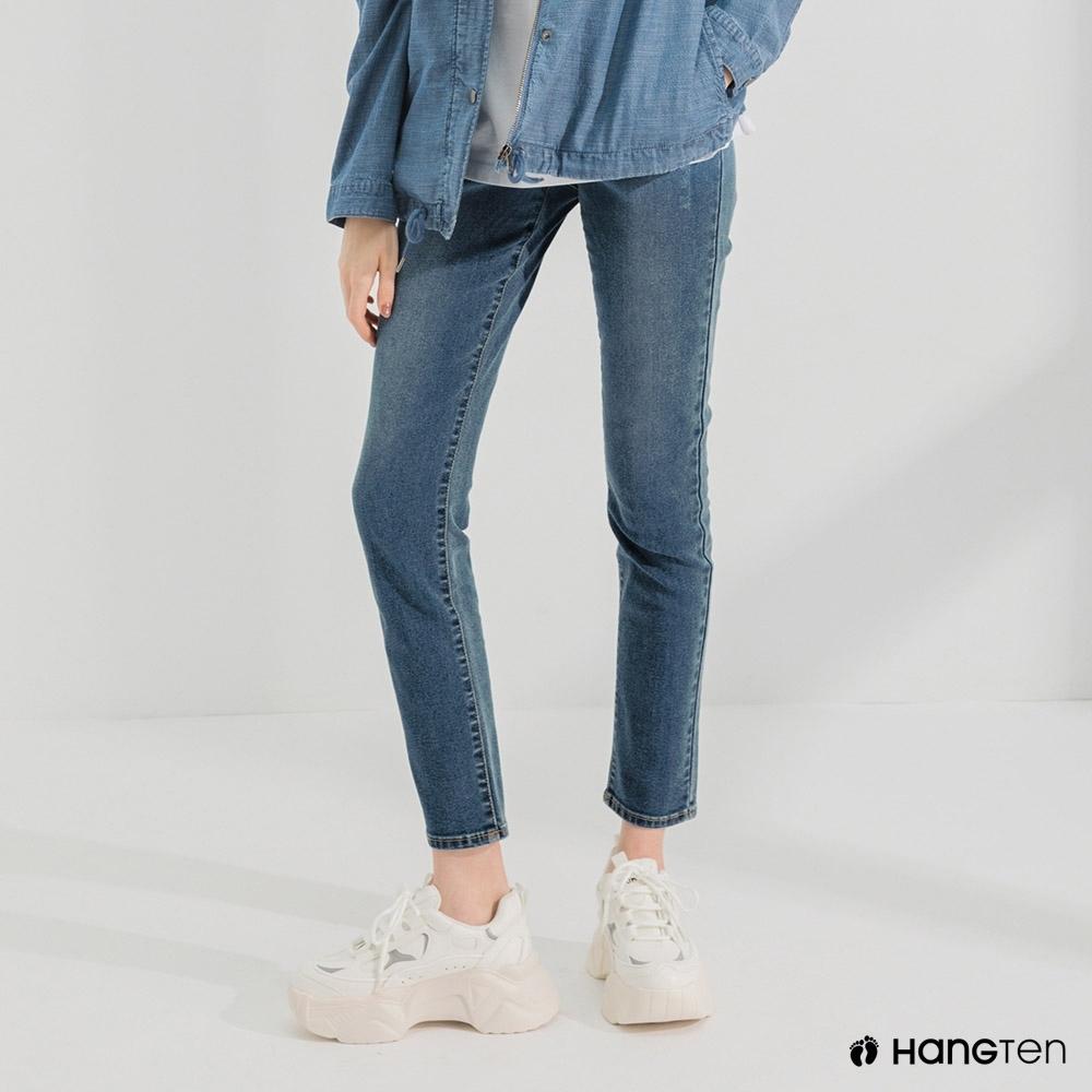 Hang Ten-女裝-環保再生紗-經典款SLIM FIT中腰丹寧褲-中藍色