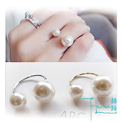【Hera 赫拉】 韓國熱賣手飾 優雅淑女款式 U形珍珠 戒指
