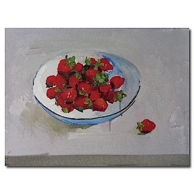 橙品油畫布-單聯式橫幅 掛畫無框畫-草莓-40x30cm