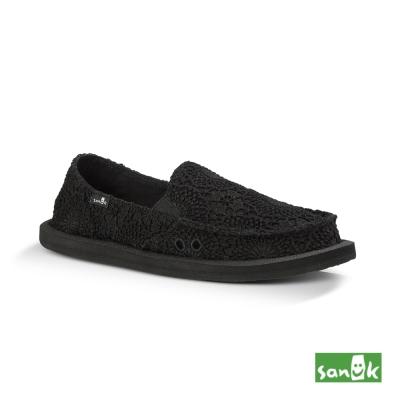 SANUK 勾針蕾絲懶人鞋-女款(黑色)