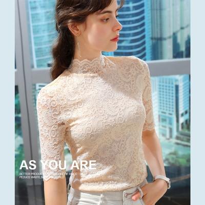 專注內搭-法式蕾絲衫半高領中袖T恤鈎花鏤空上衣(S-2XL可選)