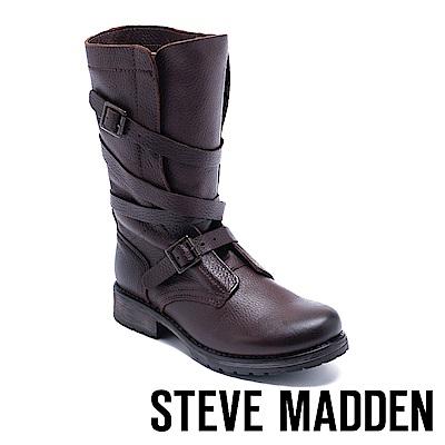 STEVE MADDEN-BANDDIT冒險粗獷真皮環繞式肩帶扣飾高筒靴-咖啡色