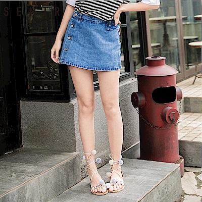 SEMIR-側邊排扣小翻片造型牛仔褲裙-女