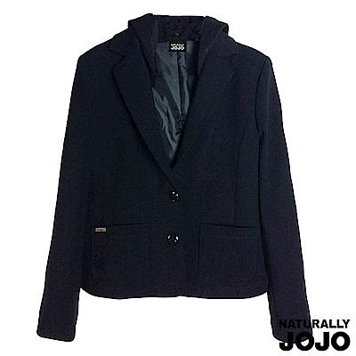 【NATURALLY JOJO】可拆帽短版西裝外套(黑)