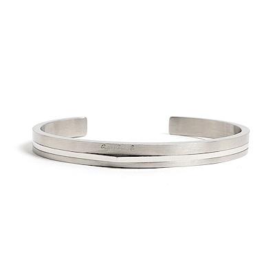 agnes b.經典雙色C型白鋼男手環銀