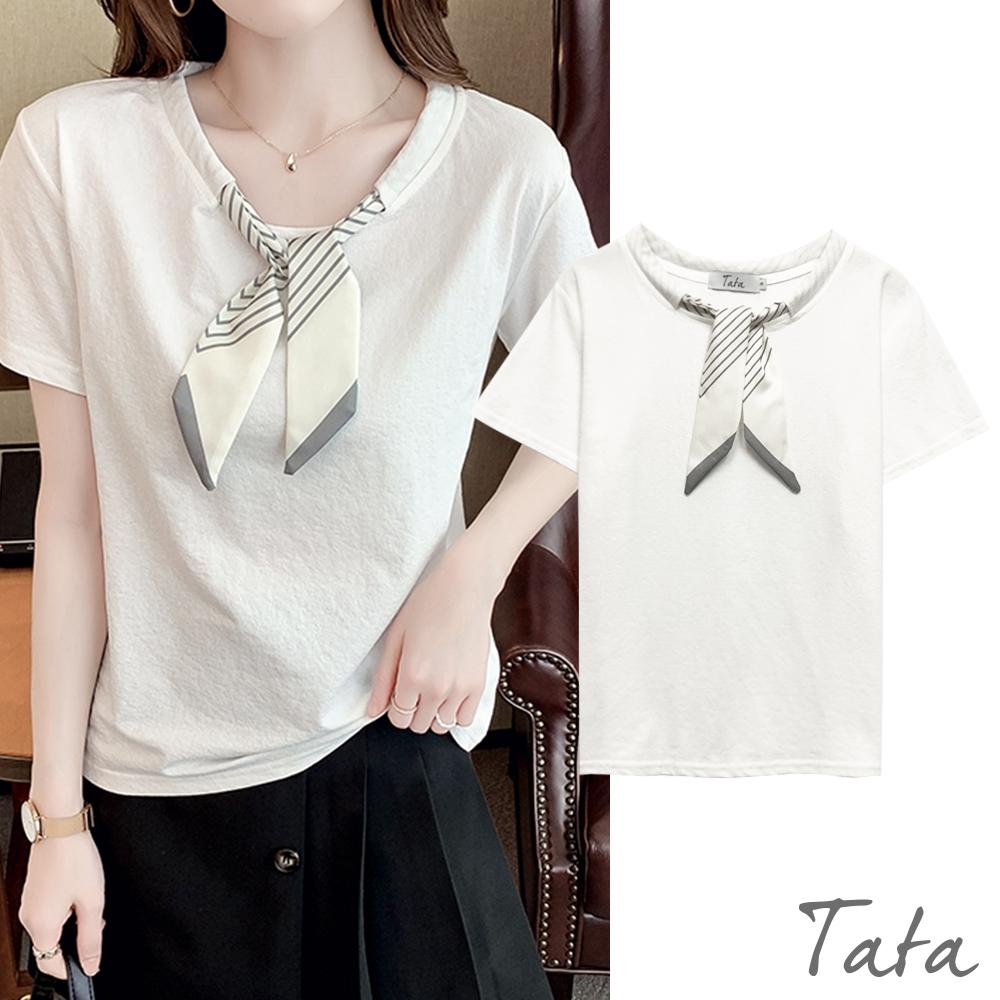 蝴蝶結領帶領素面上衣 共二色 TATA-(S~L)