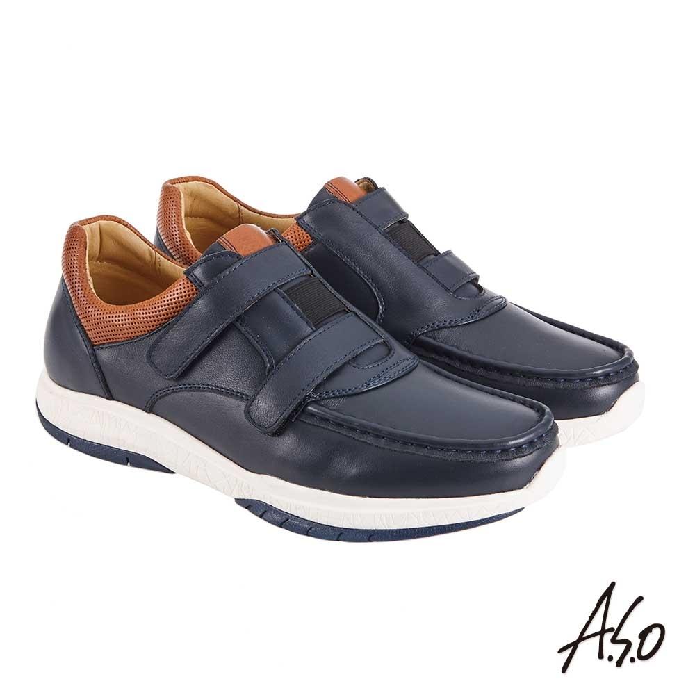A.S.O 機能休閒 萬步健康鞋 雙帶魔鬼黏休閒鞋-深藍