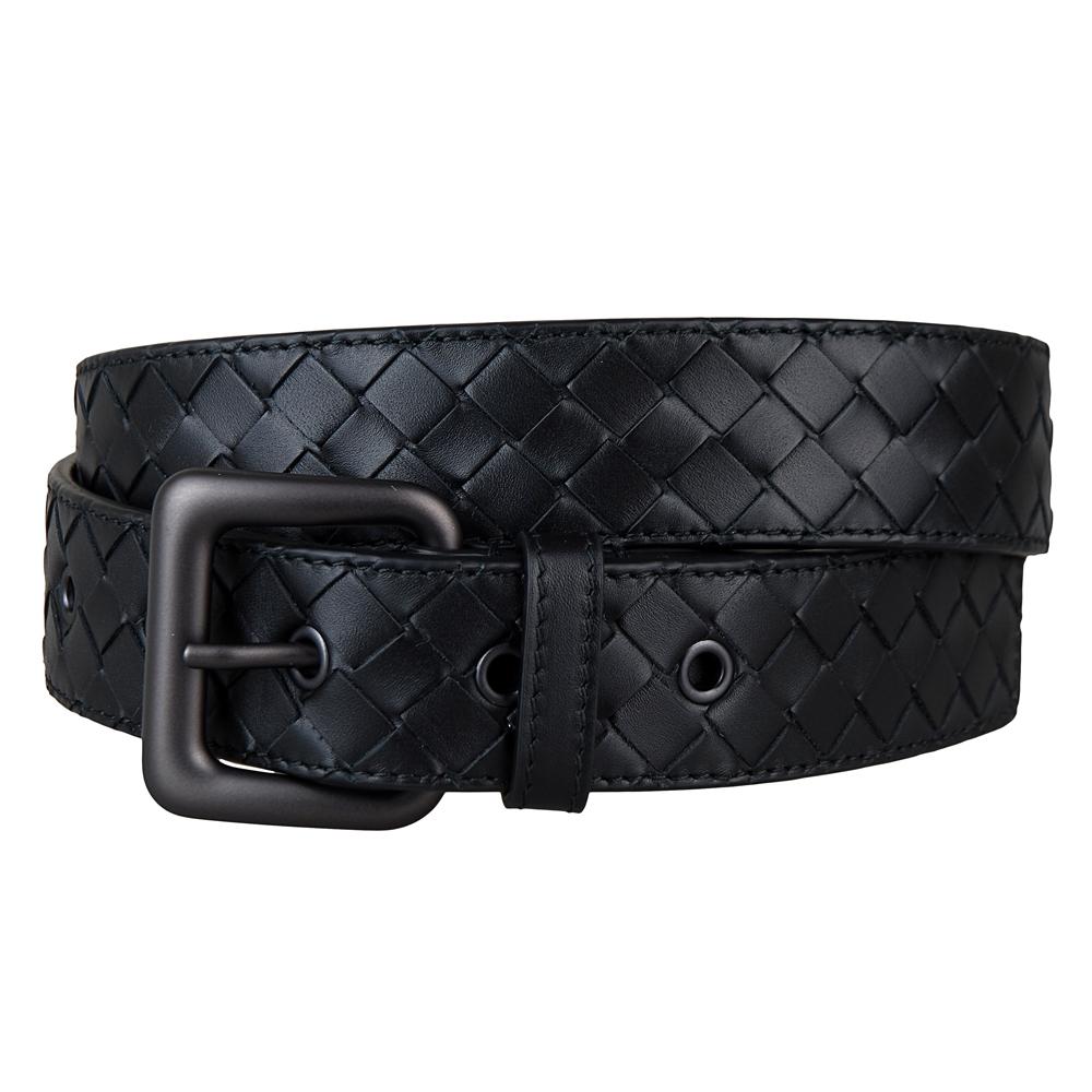 BOTTEGA VENETA 經典小牛皮手工編織造型五孔皮帶(黑/90/95CM)