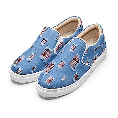 BuyGlasses 復刻版勤儉持家藝術風懶人鞋-淺藍