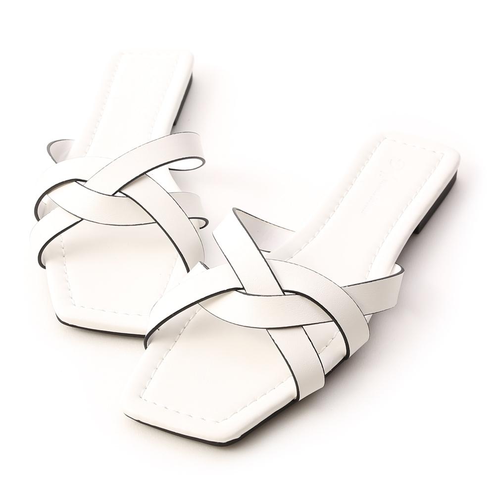 D+AF 愜意午後.方頭編織平底涼拖鞋*白