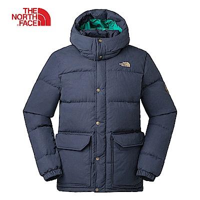 The North Face北面男款藍色防潑水羽絨外套|3RG8H2G