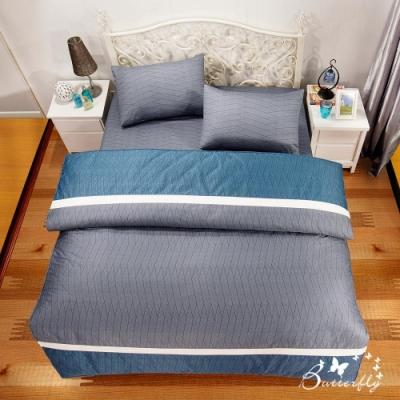 BUTTERFLY-台製40支紗純棉-薄式加大雙人床包被套四件組-方程式-灰