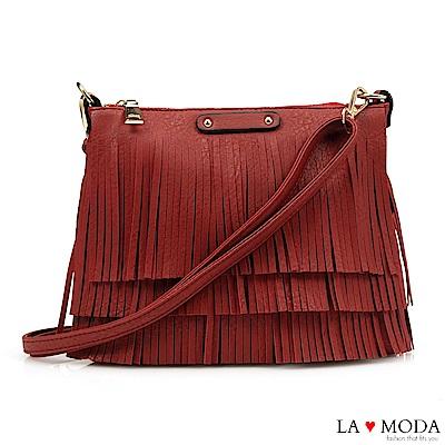 La Moda 注目度百分百流蘇綴飾大容量肩背斜背包(紅)
