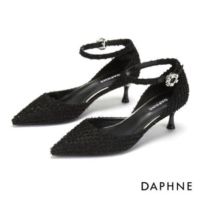 達芙妮DAPHNE 跟鞋-性感繫踝帶尖頭高跟鞋-黑