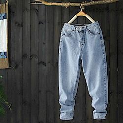 休閒磨白牛仔褲雙扣純棉哈倫長褲-設計所在