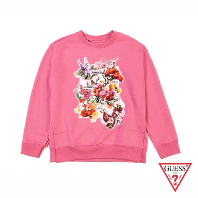 GUESS-女裝-花卉印圖長袖上衣-粉紅