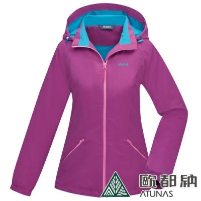 【ATUNAS 歐都納】女款天鵝絨刷毛保暖連帽外套A1GA1904W紫紅