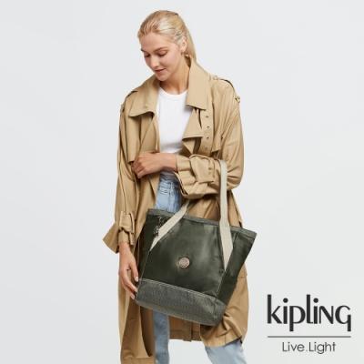 Kipling 沉穩質感綠大容量托特包-ALMATO