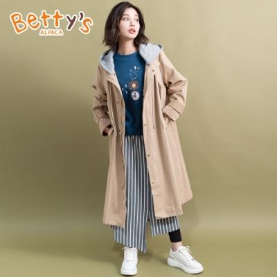 betty's貝蒂思 長版連帽配色質感大衣(卡其)