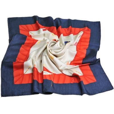 BVLGARI 義大利製熱氣球圖騰字母LOGO100%絲質大絲巾(卡其色底/籃邊)