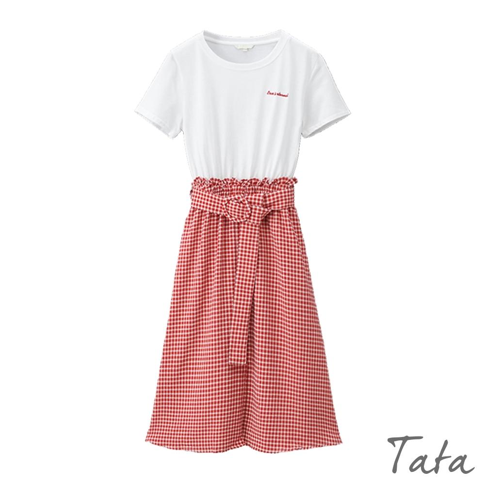 刺繡異材質拼接格紋洋裝 共二色 TATA-(S/M)