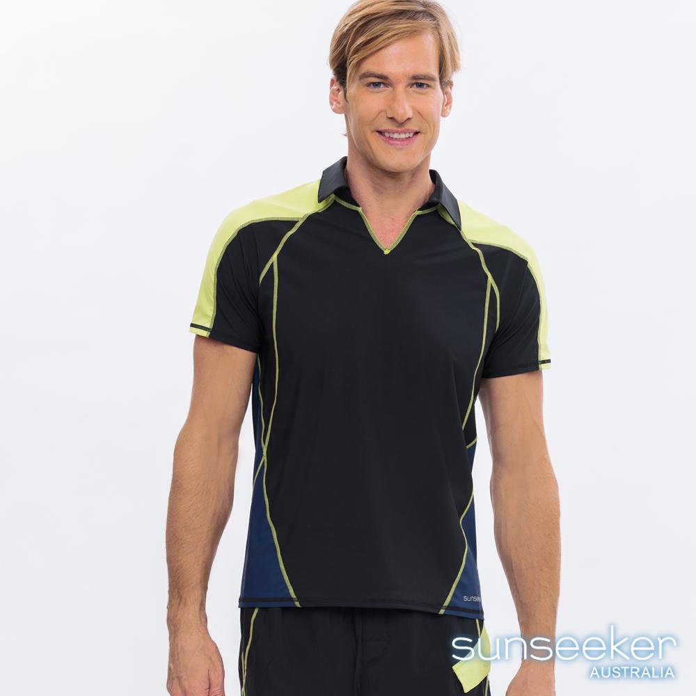 澳洲Sunseeker泳裝男士快乾短袖立領衝浪上衣-黃