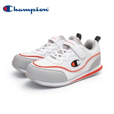 【Champion】SOUND WAVE 復古慢跑鞋 大童鞋-白/灰/橘(KFLS-0384-02)