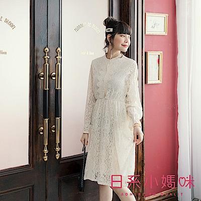 日系小媽咪孕婦裝-孕婦裝~纖細感珍珠釦蕾絲洋裝