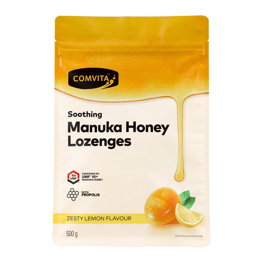 【Comvita 康維他】蜂膠麥蘆卡蜂蜜潤喉糖(檸檬味)500g
