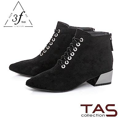 TAS質感絨布綁帶造型側拉鍊粗跟短靴-百搭黑