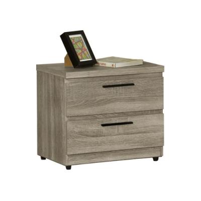 【AT HOME】日式簡約淺灰橡木紋二抽床頭櫃/床邊櫃/收納櫃(凱文)
