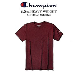 運動CHAMPION BASIC冠軍電繡小標素t 重磅短t-酒紅色