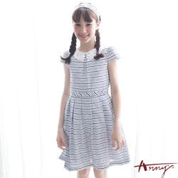 Annys典雅精緻蕾絲領條紋洋裝*7142藍