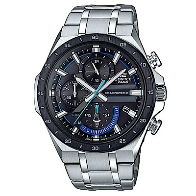 CASIO EDIFICE藍指針3D錶盤太陽能電力腕錶-(EQS-920DB-1B)/48