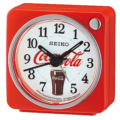 SEIKO 精工 可口可樂聯名款 靜音 貪睡鬧鐘(QHE905R)-紅/5.8X5.7cm