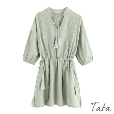 清新流蘇綁帶拼蕾絲洋裝 TATA-(M/L)