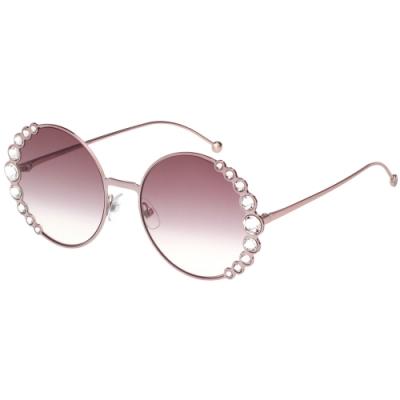 FENDI  圓框 水鑽 太陽眼鏡(粉色)