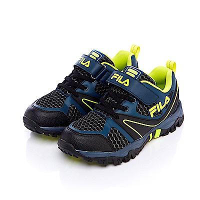 FILA KIDS大童戶外越野跑鞋-藍綠 3-X814S-606