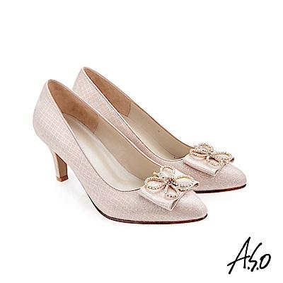 A.S.O 璀璨宴會 精緻鑽飾金箔羊皮高跟鞋 粉紅