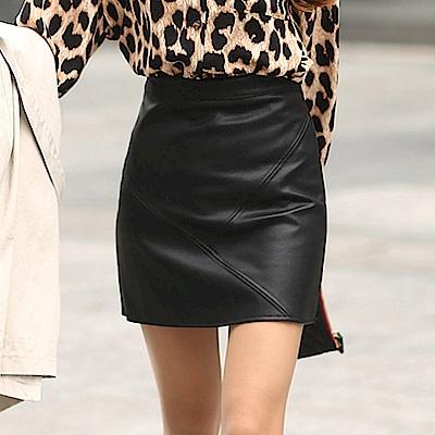 正韓 高腰立體縫線紋皮質短裙 (黑色)-N.C21