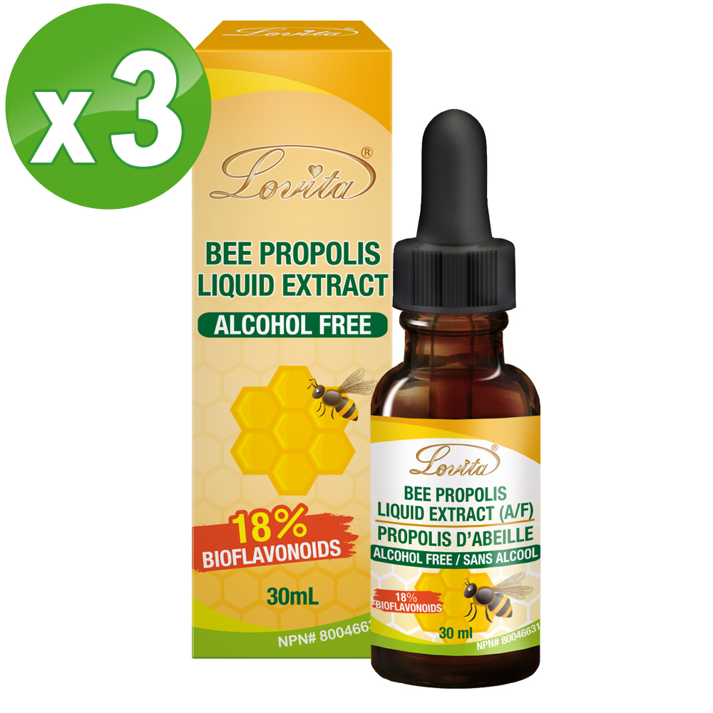 Lovita愛維他-蜂膠滴液 18%生物類黃酮 30ml/瓶 3入組