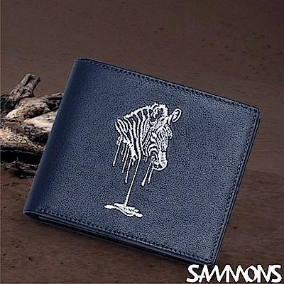 SAMMONS 真皮ZEBRA電繡短夾  深湛藍