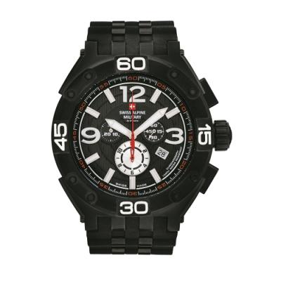 阿爾卑斯軍錶S.A.M 紅色警戒系列重磅款/黑色錶框/黑色橡膠錶帶/50mm