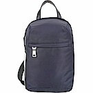 PRADA 新款橡膠標籤尼龍手提單肩胸背包(深藍色)