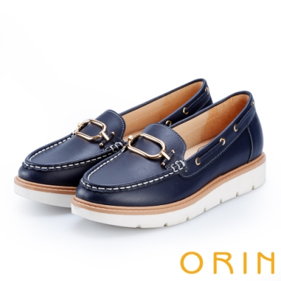 ORIN 復古樂活主義 簡約方扣牛皮厚底帆船鞋-藍色